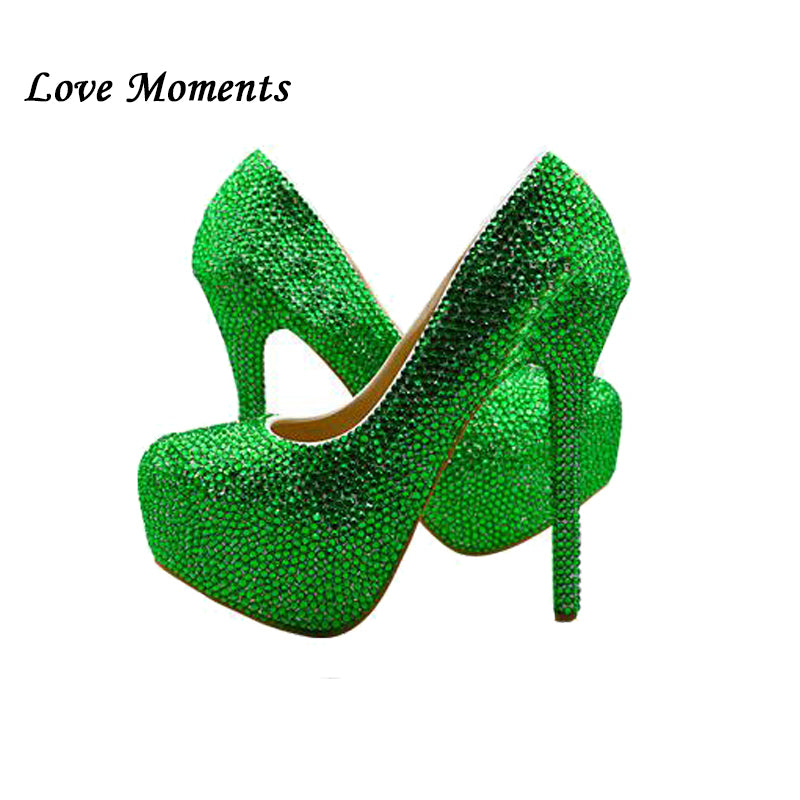 Bridal wedding shoes Green crystal high-heeled platform shoes and purse girl wedding shoes performance party shoes