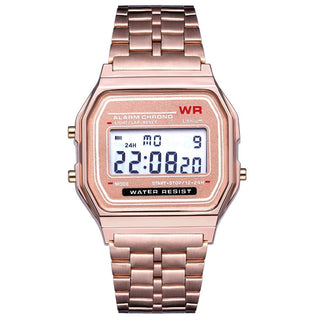 Gama Watches™ Reloj Vintage Retro Digital. Oro Rosado.