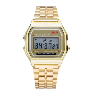 Gama Watches™ Reloj Vintage Retro Digital. Dorado.