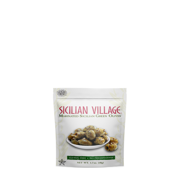 Sicilian Village Marinated Sicilian Green Olives, 1.7 oz  (pack of 12)