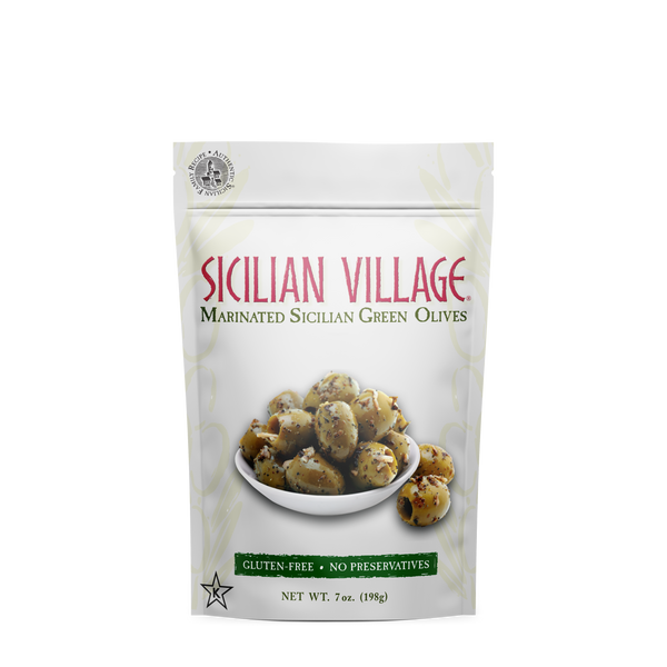 Sicilian Village Marinated Sicilian Green Olives, 7 oz.
