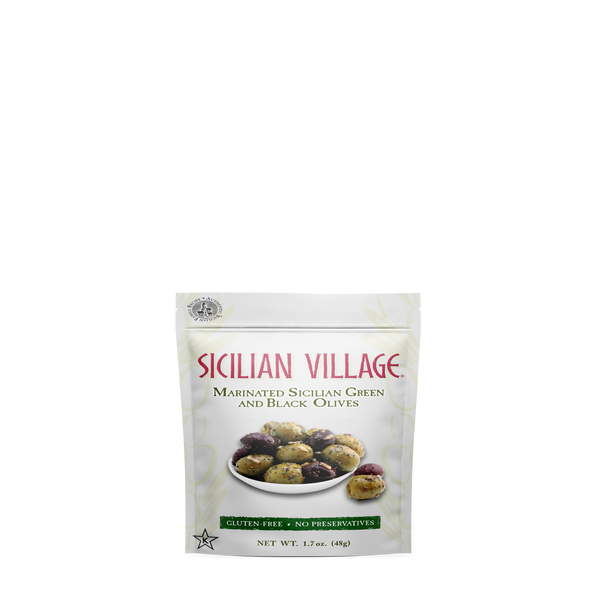 Sicilian Village Marinated Sicilian Green and Black Olives, 1.7 oz  (pack of 12)
