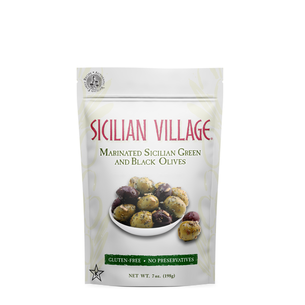 4 Pack Sicilian Village Marinated Sicilian Green and Black Olives, 7 oz.