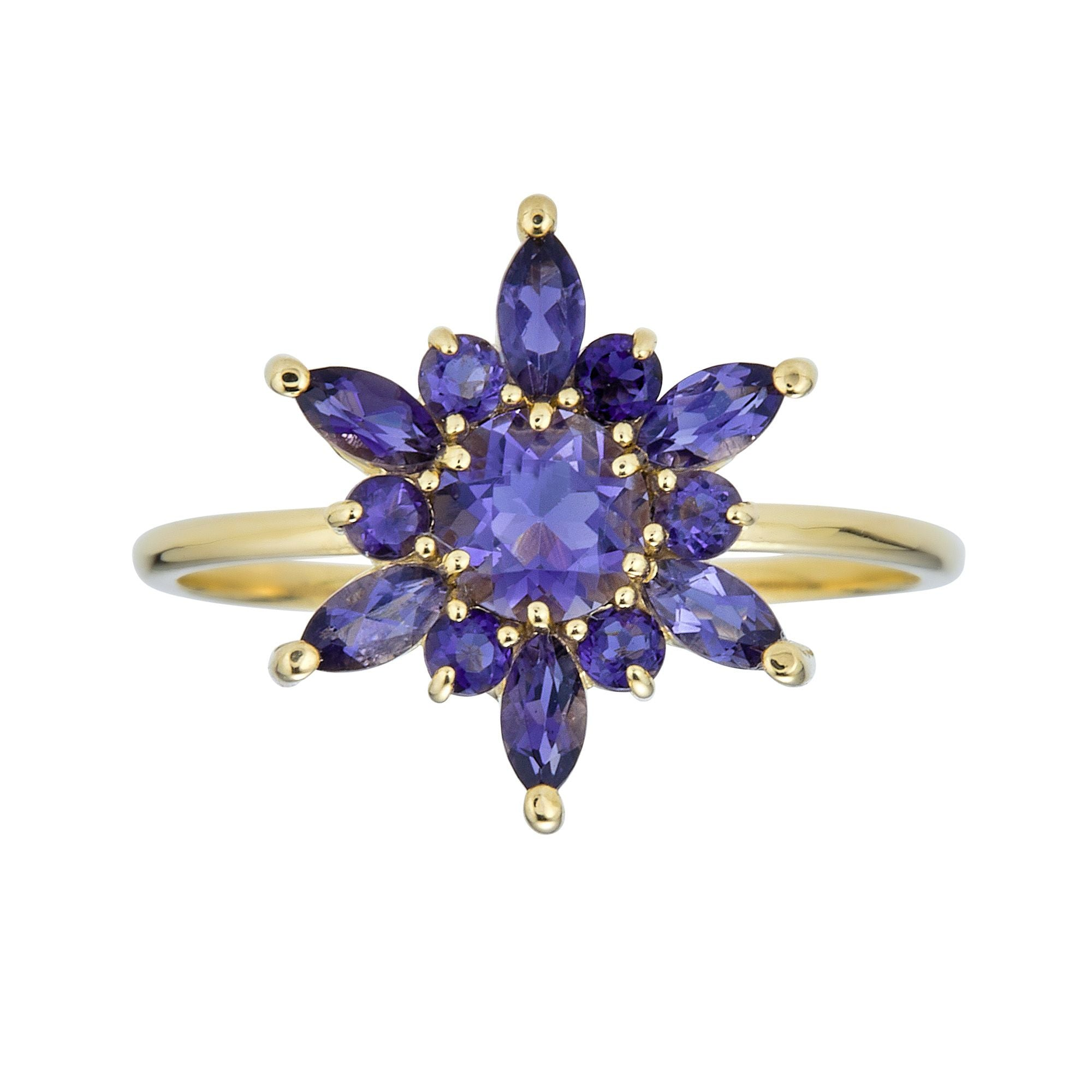 Floral Gem Ring-Iolite