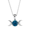 Triple Moon Goddess Necklace-Sterling Silver with London Blue Topaz