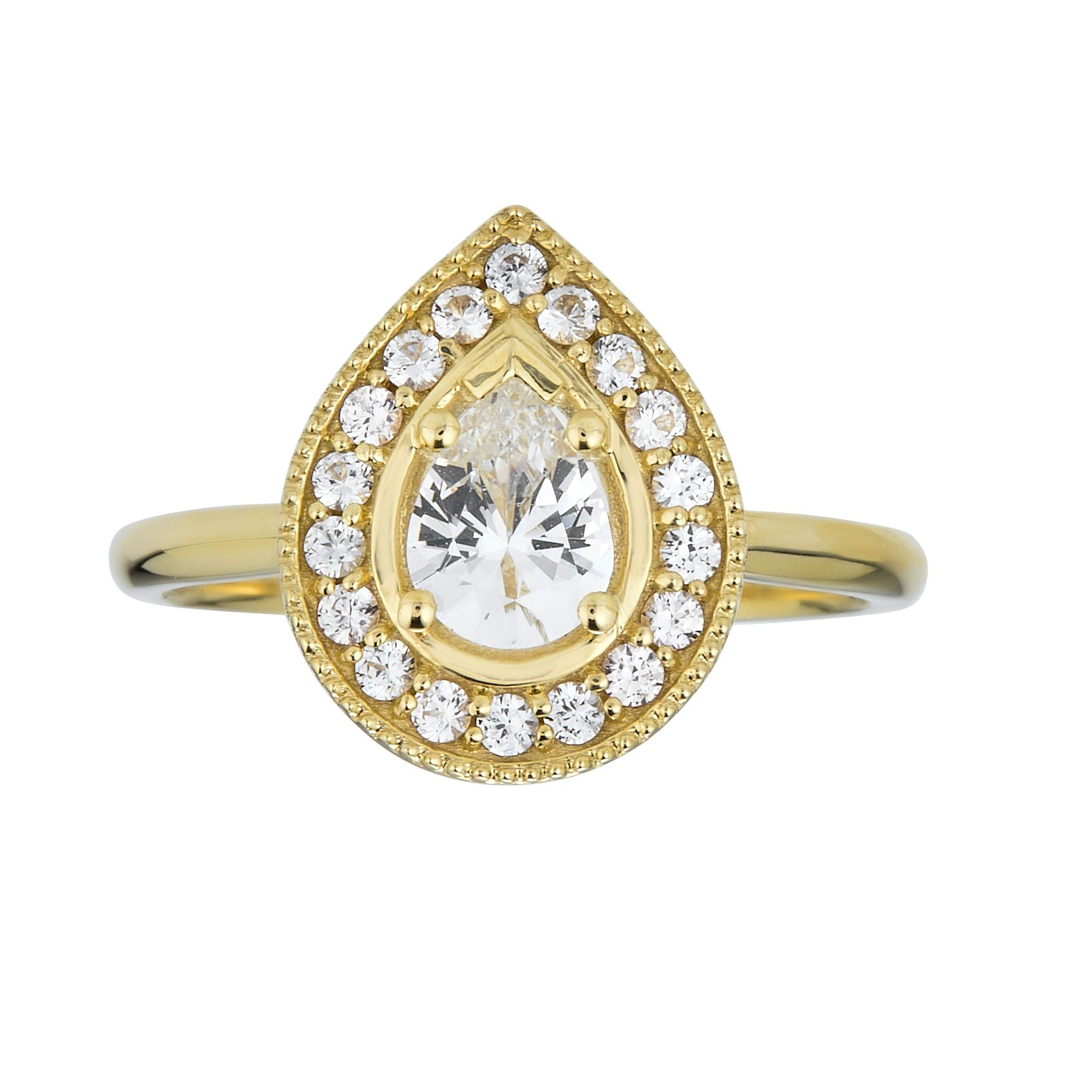 Pear Halo Ring-White Sapphire