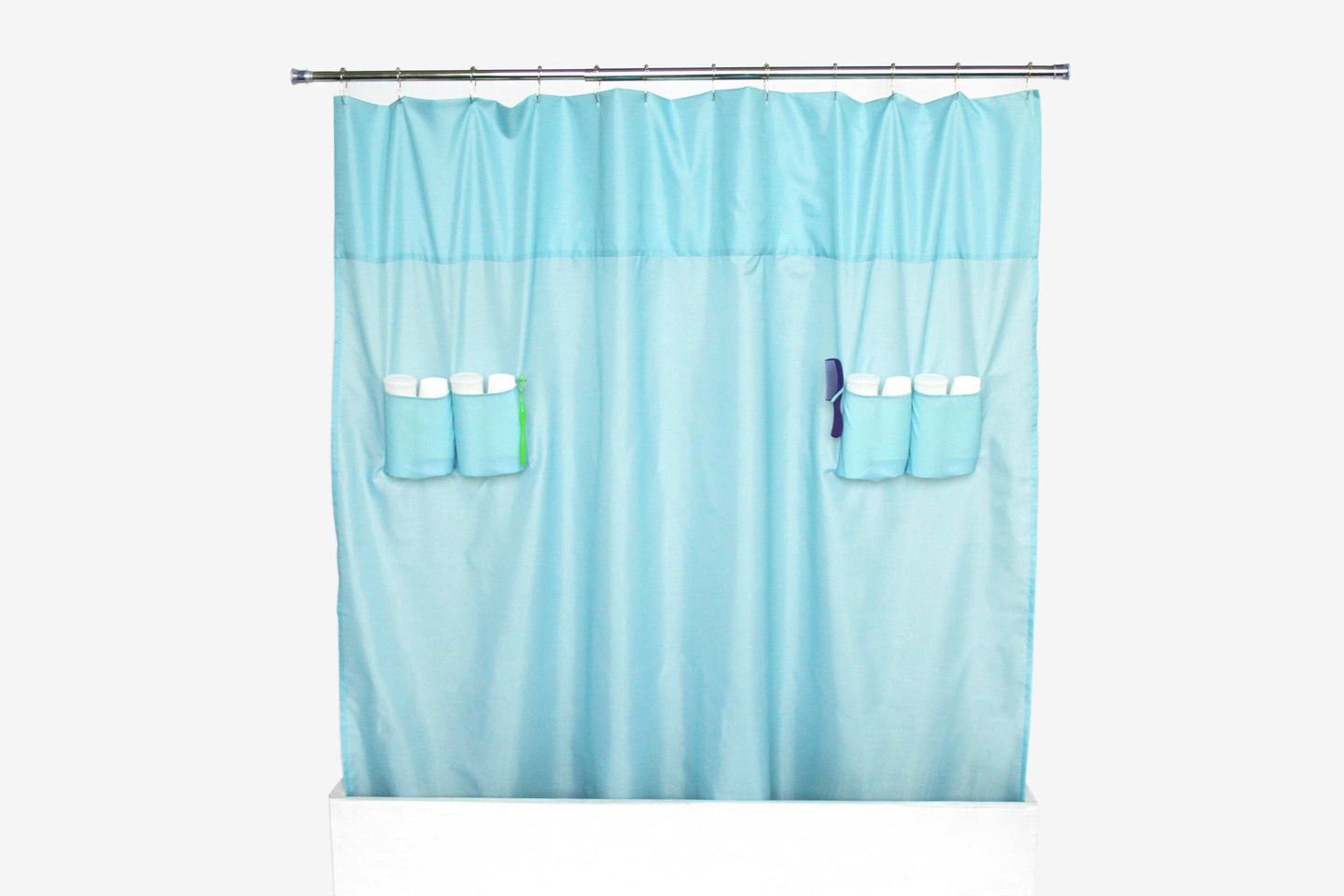 utility shower curtain storage loops nylon sky blue