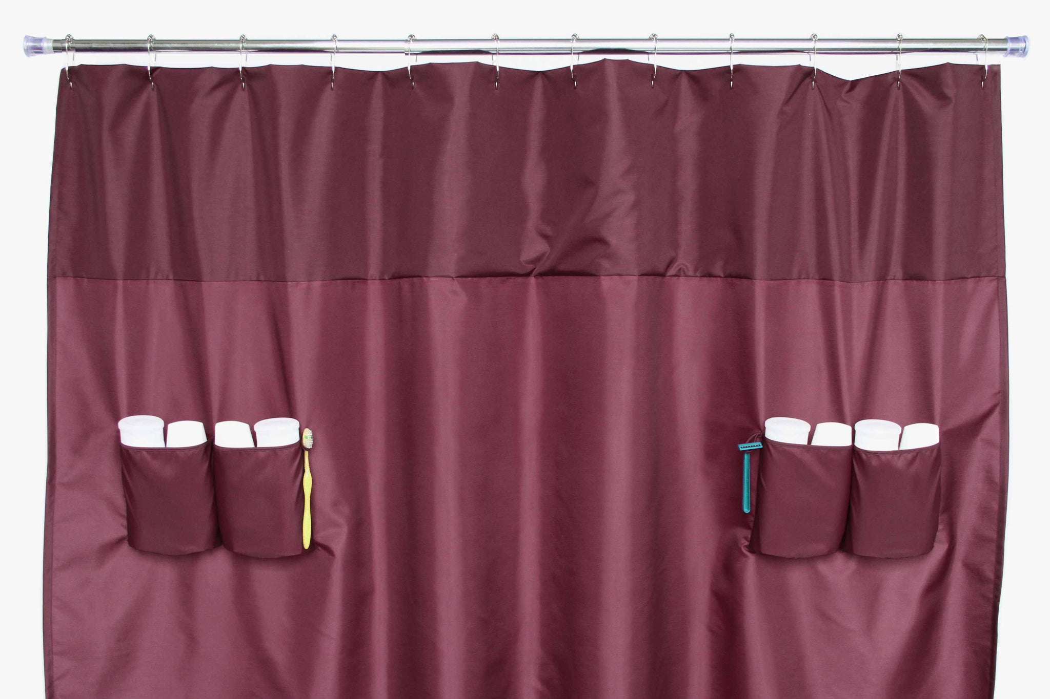 Utility Shower Curtain Storage Loops Nylon Burgundy