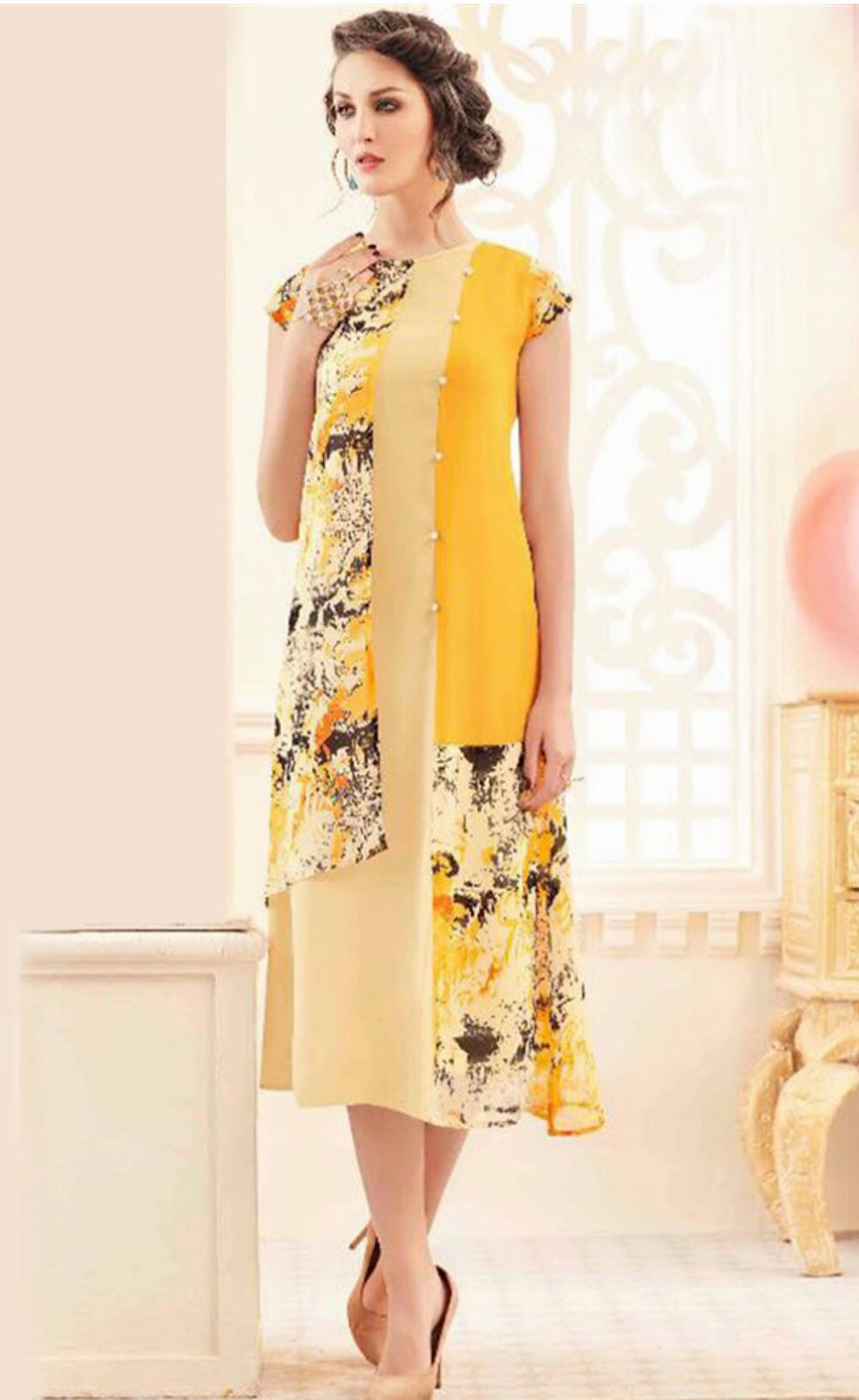 FANCY REYON FABRIC KURTI - BABBALBUY