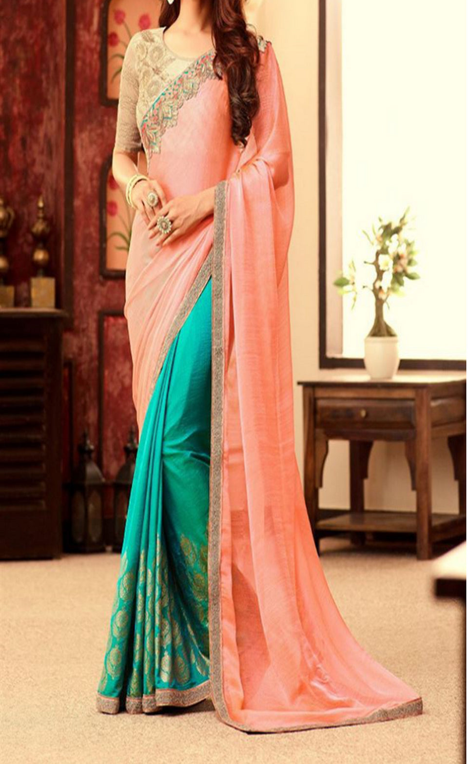 SILK GEORGETTE  SAREE - BABBALBUY