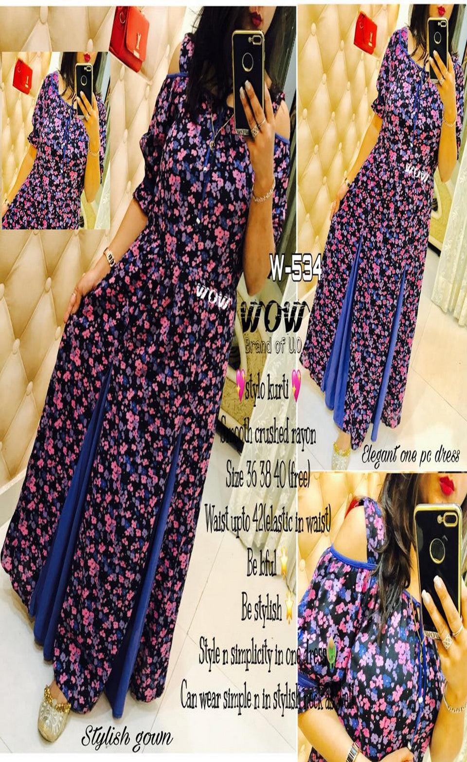 MODEL LINE COLORFUL LONG STYLO GOWN - BABBALBUY