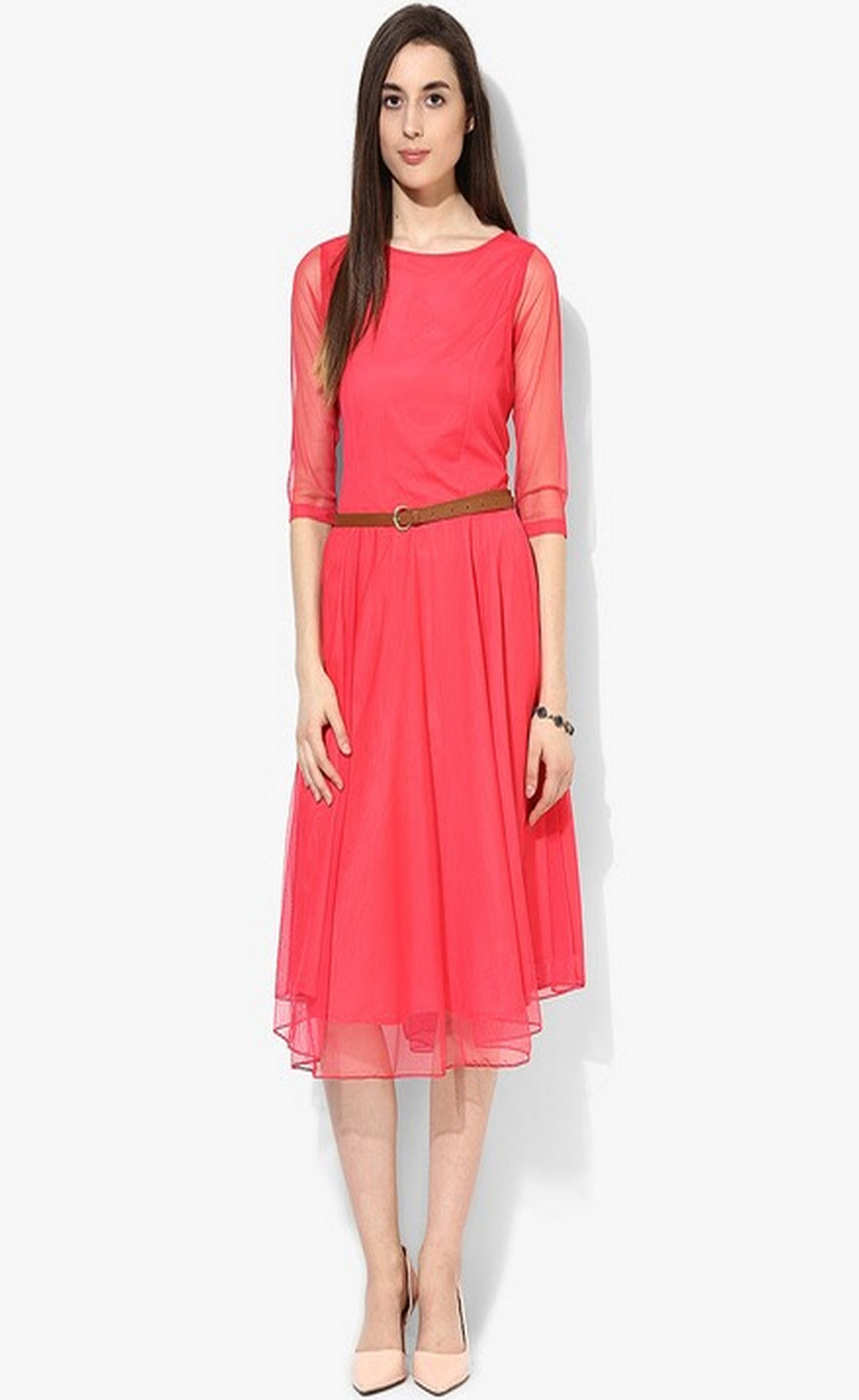 DESIGNER POLYSTER SOLID DRESS - BABBALBUY