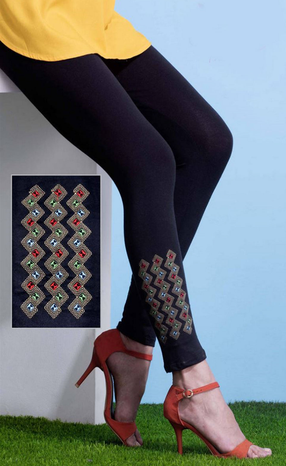 EXOTIC COTTON LYCRA FABRIC EMBROIDED LEGGINGS - BABBALBUY