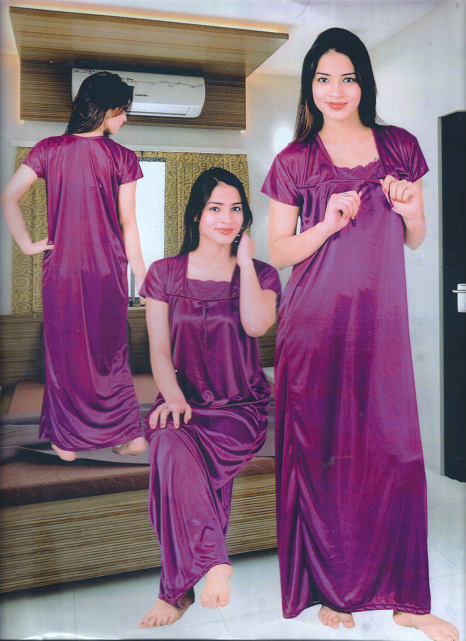 WOMENS PLAIN NIGHT GOWNS - BABBALBUY