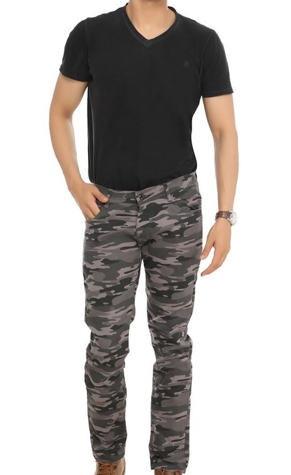 COTTON SOLID SLIM FIT CARGO - BABBALBUY