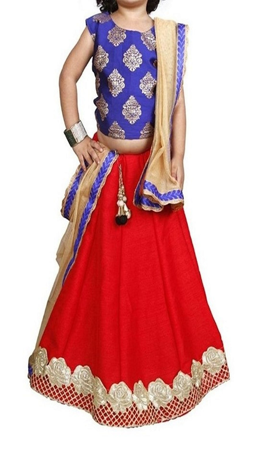 DUPIN SILK ANARKALI EMBROIDERY KIDS LEHENGA CHOLI - BABBALBUY