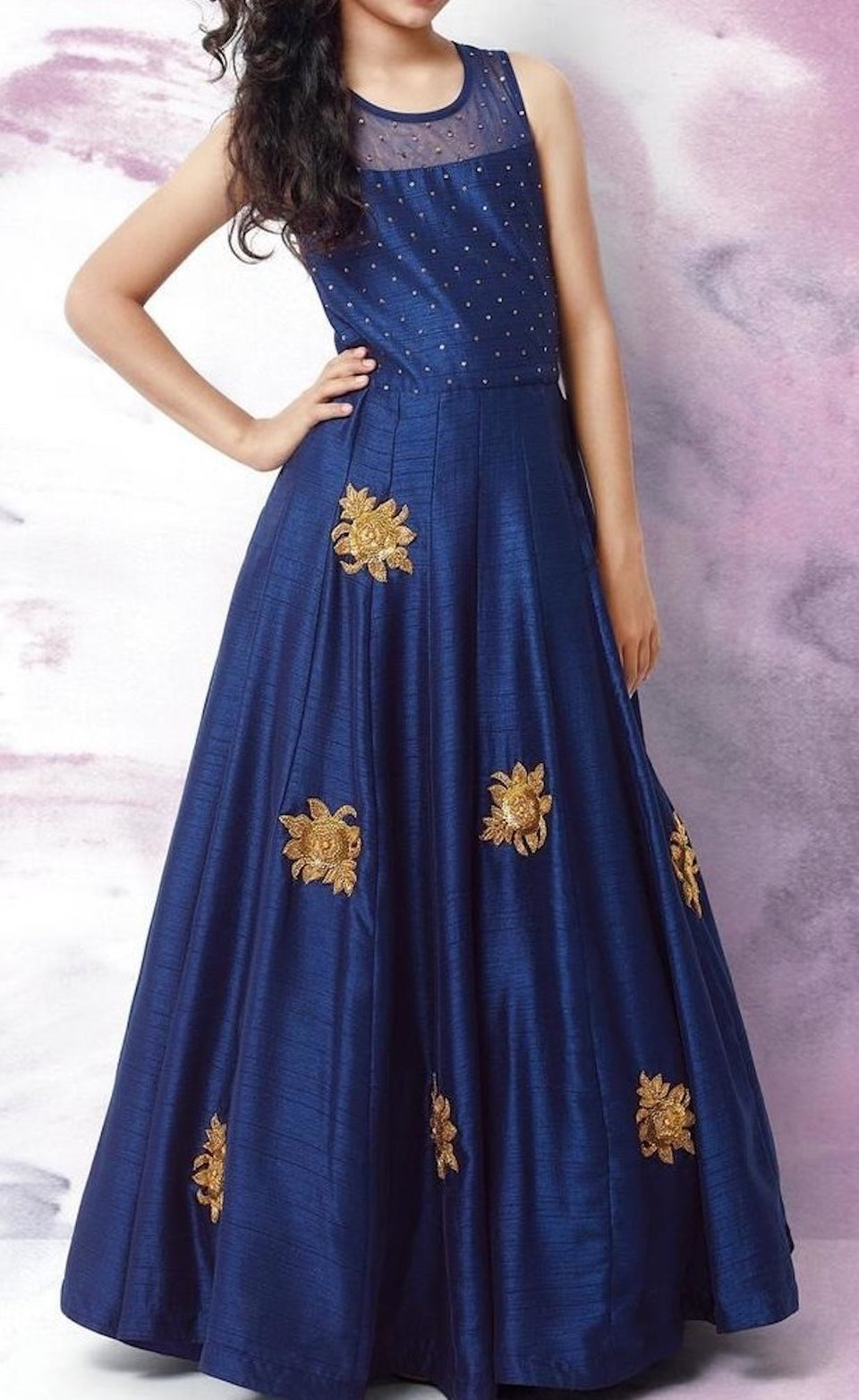 DUPIN SILK ANARKALI EMBROIDERY GOWN - BABBALBUY