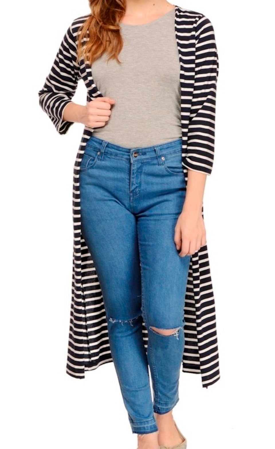 RIGO BRAND STRIPED MAXI SHRUG - BABBALBUY