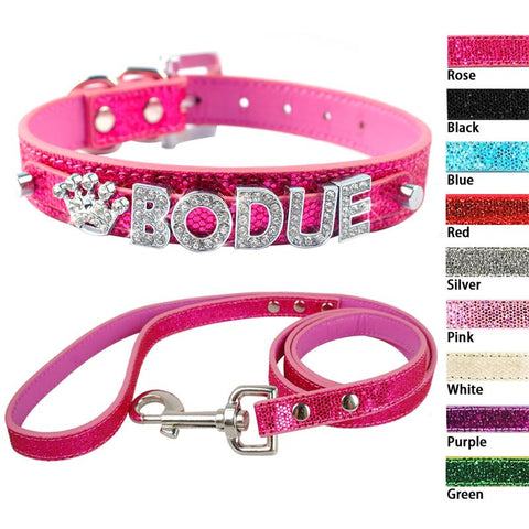 Dog Collar Leash Set Customized Crystal Rhinestones
