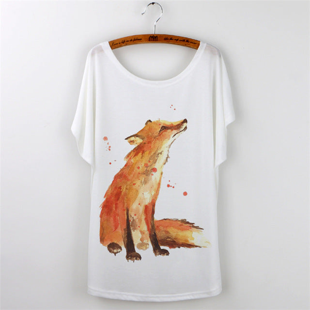 Great Price, Get it Now -Fox-T-Shirt Women. loose fit