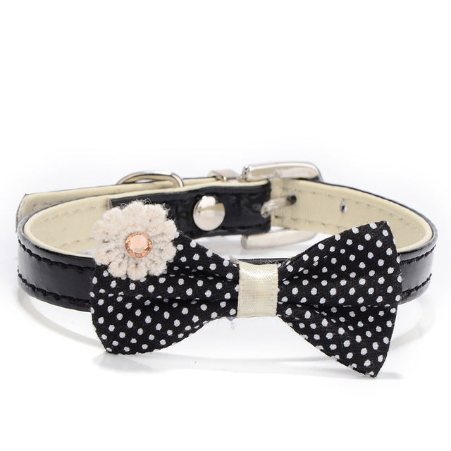 Leather Bow Tie Dog Collar