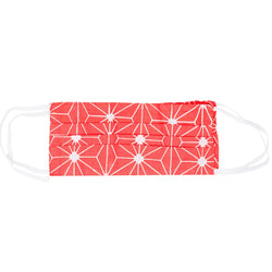 Face Mask - Bright Coral Geometric Print