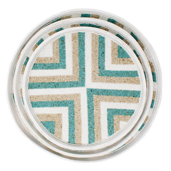 Riviera Tray Set (of 3) - Aqua/Natural/White