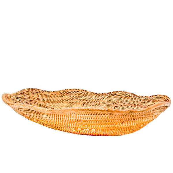 Ruffle Rattan Tray - Medium