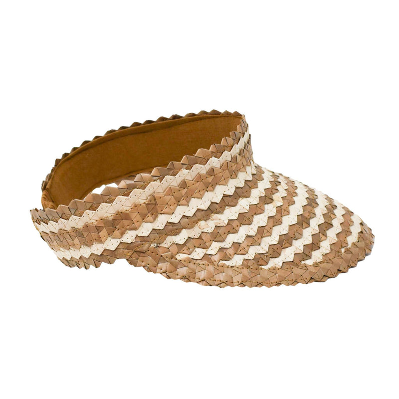 STRAW SUN VISOR - TWO TONE - CARAMEL/NATURAL