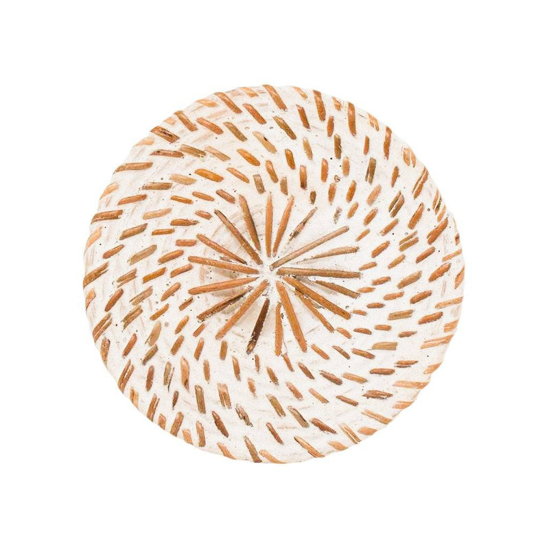 WHITE WASH RATTAN COASTER SET (Set of 6)
