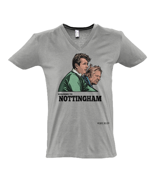Clough & Taylor 'Welcome to Nottingham' V-Neck T-Shirt