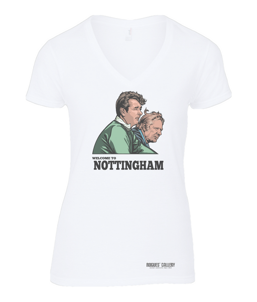 Clough & Taylor 'Welcome to Nottingham' Ladies V Neck T-Shirt