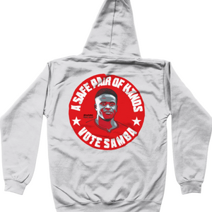 Brice Samba Nottingham Forest goalkeeper grey kids hoodie vote #GetBehindTheLads