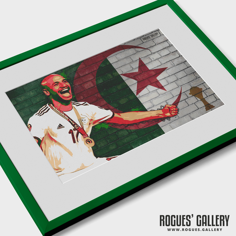 African Cup of Nations Adlene Guedioura Algerian midfielder A3 print winners 2019