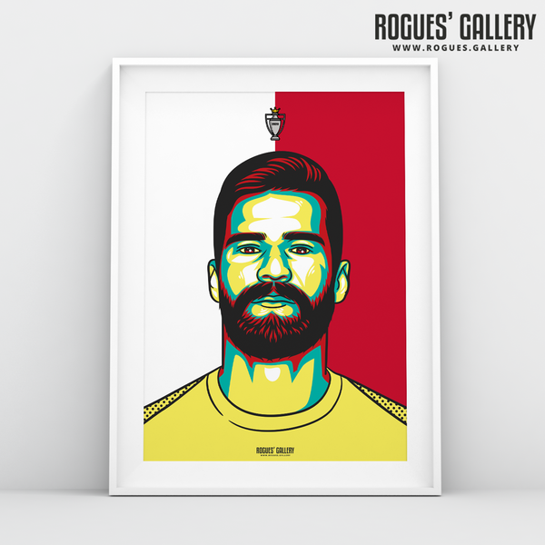 Alisson Becker Liverpool FC Anfield Art print A3 Champions Limited Edition 30 years title winners goalkeeper