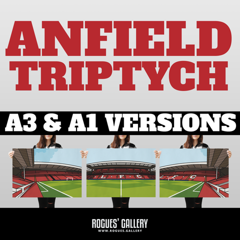 Anfield Liverpool FC The Kop triptych A3 art print