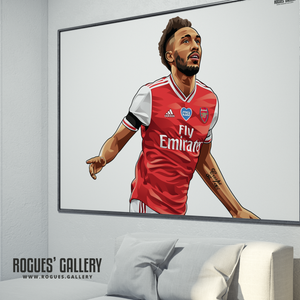 Pierre-Emerick Aubameyang Arsenal FC AFC Gunners striker French Emirates goal celebration A0 Print