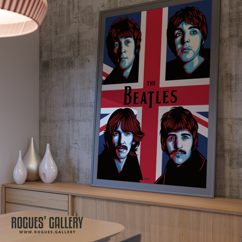 The Beatles modern art union jack John Lennon Paul McCartney George Harrison Ringo Starr A0 huge large poster
