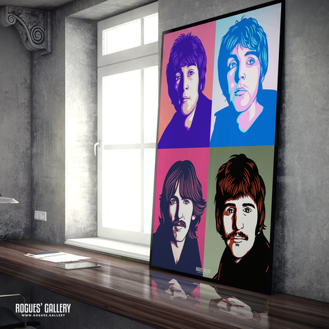 The Beatles retro pop art John Lennon Paul McCartney George Harrison Ringo Starr A1 huge large poster Liverpool