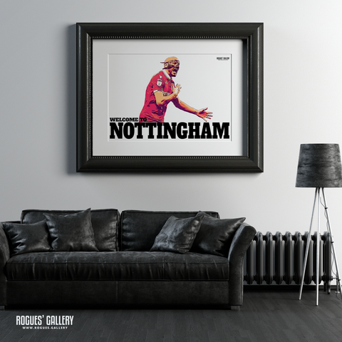 Yohan Benalouane Nottingham Forest goal versus Derby County Welcome To Nottingham Print mask A1 leather sofa