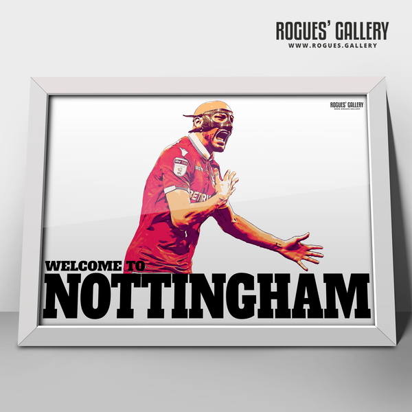 Yohan Benalouane Nottingham Forest centre half defender goal versus Derby County Welcome To Nottingham Print mask A3 print edit victory