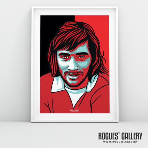 George Best Manchester United Northern Irish winger forward Old Trafford A3 print