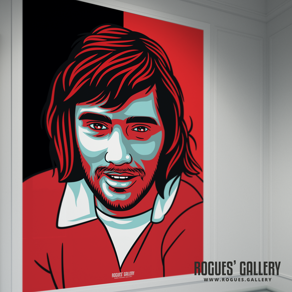 George Best Manchester United Northern Irish winger forward Old Trafford A2 print drinker Miss World