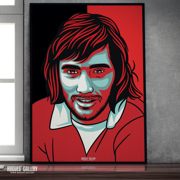 George Best Manchester United Northern Irish winger forward Old Trafford A1 print RIP