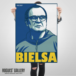 Marcelo Bielsa manager Leeds United Elland Road A1 art print boss bielsaball