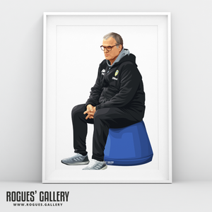 Leeds United manager Marcelo Bielsa Blue Bucket portrait A3 print Rogues' Gallery