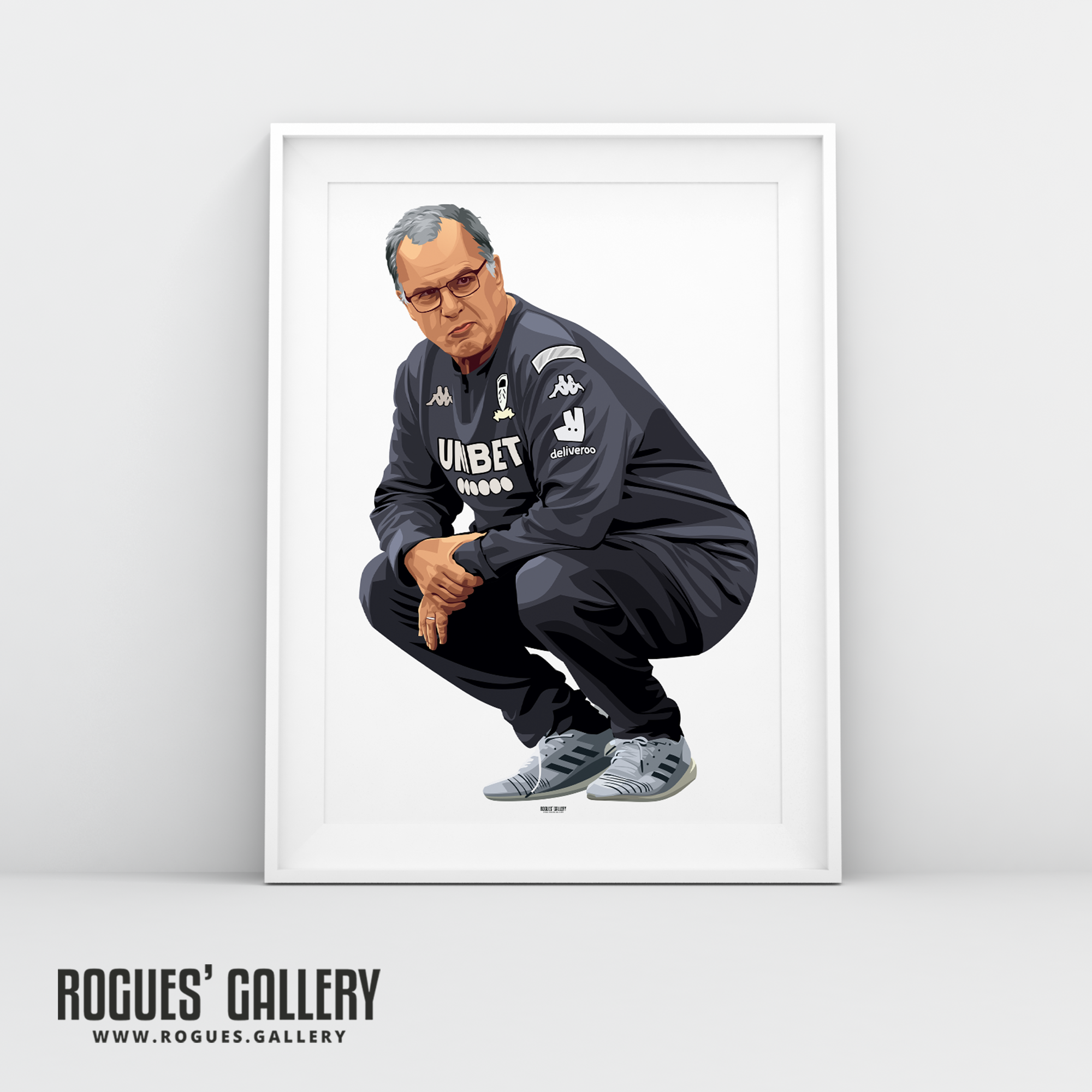 Marcelo Bielsa Leeds United manager crouching portrait A3 print Rogues' Gallery