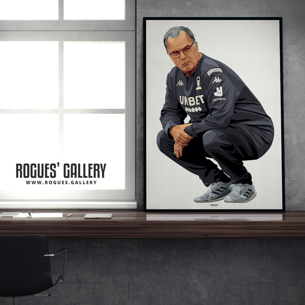 Marcelo Bielsa Leeds United manager crouching portrait A1 print edit Rogues' Gallery