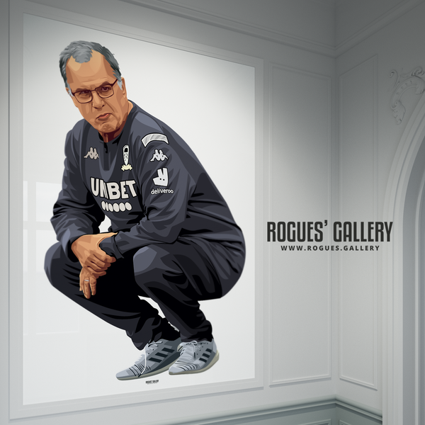 Marcelo Bielsa Leeds United manager crouching portrait A0 poster Rogues' Gallery