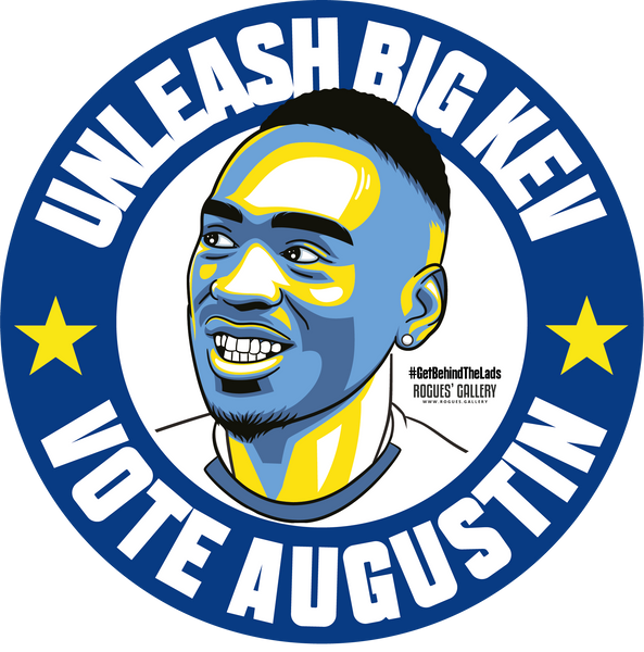 Kevin Augustin Big Kev Leeds United striker campaign stickers Vote #GetBehindTheLads LUFC